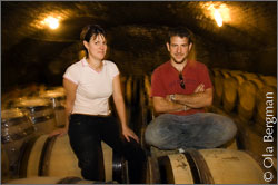 Sylvie and Vincent Boyer in the cellars of Domaine Boyer-Martenot in Meursault, Burgundy.