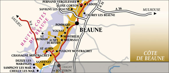 Map over the Côte de Beaune.