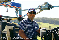 Thierry Beaumont, Domaine des Beaumont, on his tractor.